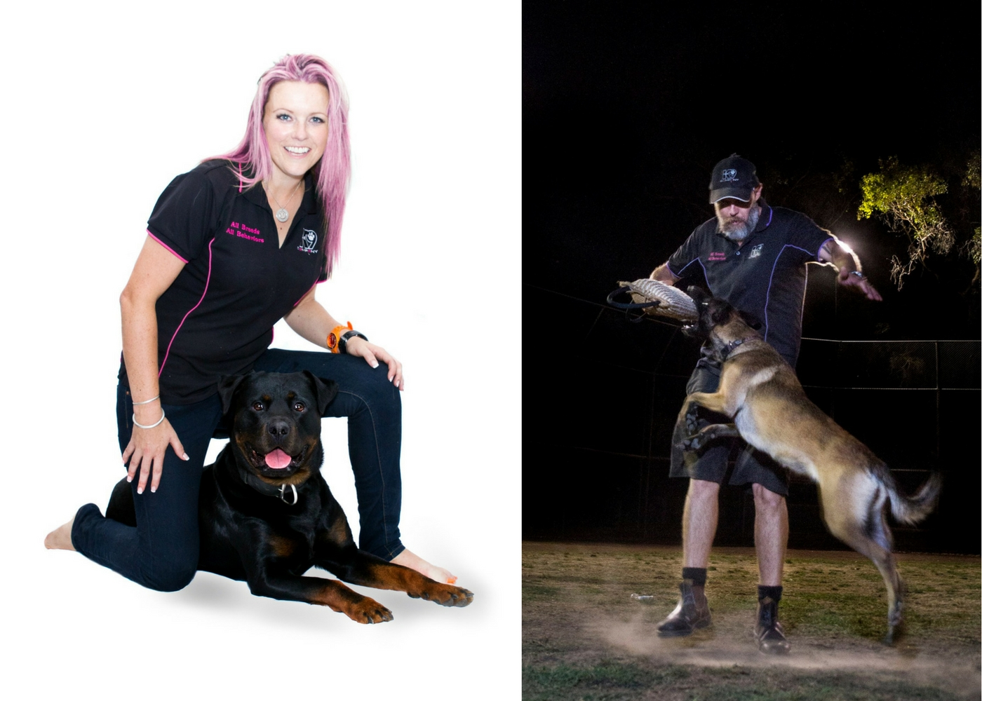 """Cat with her dog Zooka. Brent using the """"Power of Play"""" with his dog Zia"""
